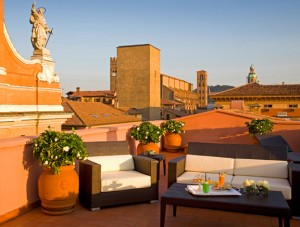 Art deco terrace at the Grand Hotel Baglioni, Bologna
