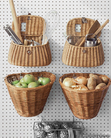 kitchen pegboard with baskets