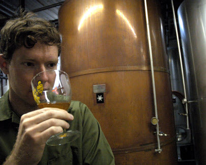 Sixpoint Craft Ales founder, Shane Welch, taste testing the ale.