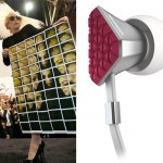 Lady Gaga for Polaroid (L) and the Gaga designed Monster Heartbeats earbuds
