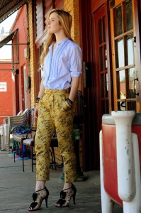 Jane Aldridge in Fur Fur brocade pants