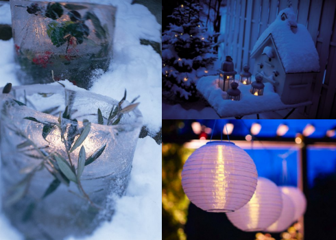 DIY Ice Lantern from Design*Sponge, IKEA ROTERA lanterns ($4.99) and SOLIG Globes ($9.99)
