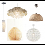 Clockwise, from far left: Cambden White Mosaic Pendant Lamp, $70 on Bed Bath & Beyond; Phrena Pendant Lamp by Artecnica, $78 on Velocity; BOJA Pendant Lamp, $60 on IKEA; IKEA PS MASKROS Pendant Lamp, $90 on IKEA; Woven Pendant Lamp, $199 on West Elm.