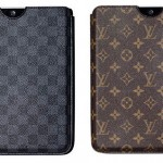 At left, the Louis Vuitton Ipad sleeve in monochrome Damier Graphite. Ar right, the sleeve in the label's classic Monogram.