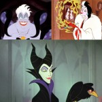 Disney's Beautiful Villains: Ursula (top left), Cruella de Vil (top right), Maleficent (bottom)