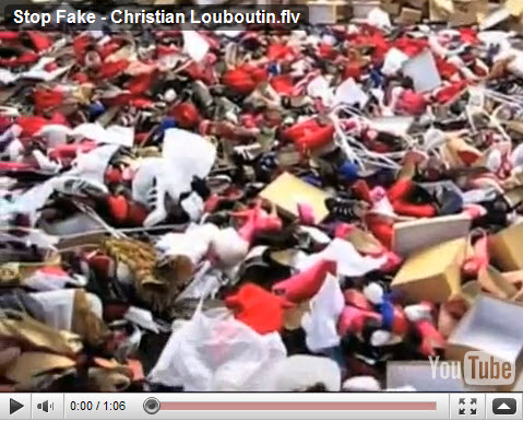 Fake Christian Louboutin's crushed by bulldozer