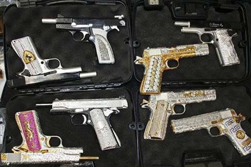 Diamond encrusted guns seized from a Mexican drug cartel