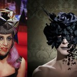 At left, Lady Gaga's Telephone Hat by Piers Atkinson, at right a hat from the designer's It Is Later Than You Think collecyion