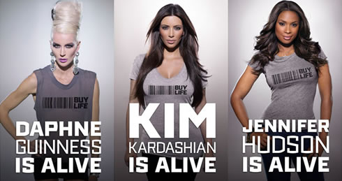 Daphne Guiness, Kim Kardashian and Jennifer Hudson for the Buy Life anti-Twitter campaign