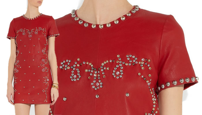 isabel-marant-studded-red-leather-dress