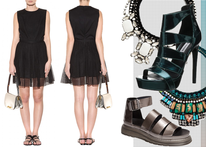 What to Wear With Carvens Black Cutout Eyelet Dress