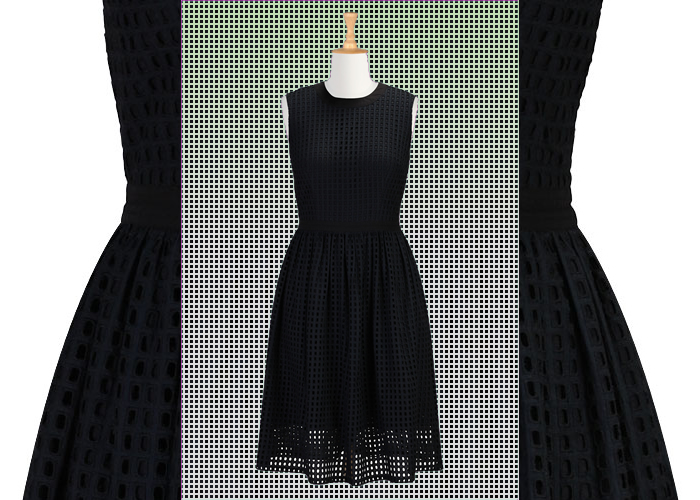 eshakti-fiona-dress-black-grid-eyelet
